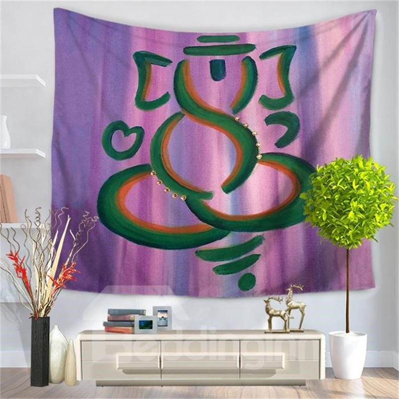 Abstract Indian Elephant with Purple Bottom Color Decorative Hanging Wall Tapestry