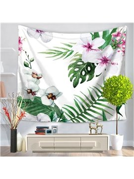 Tropical Wild Orchid Flowers With Palm Leaves Nature Artwork Decorative Hanging Wall Tapestry
