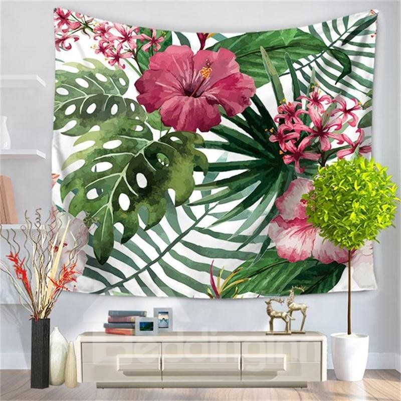 Tropical Wild Orchid Flowers With Leaves Pattern Decorative Hanging Wall Tapestry