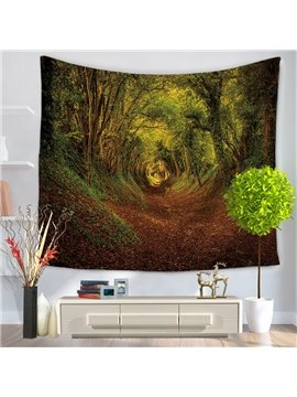 Rain Forest Jungle Trees Pattern Decorative Hanging Wall Tapestry