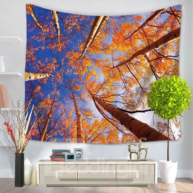 Shadows of Tall Trees Blue Sky Pattern Decorative Hanging Wall Tapestry
