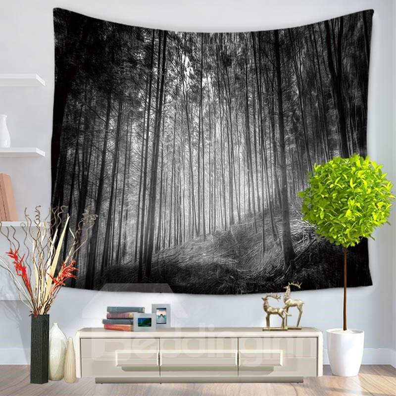 Foggy Dark Color Jungle Rain forest Nature Pattern Decorative Hanging Wall Tapestry