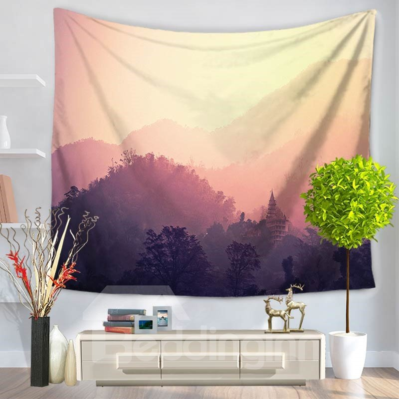 Foggy Mountain View Forest Pattern Decorative Hanging Wall Tapestry