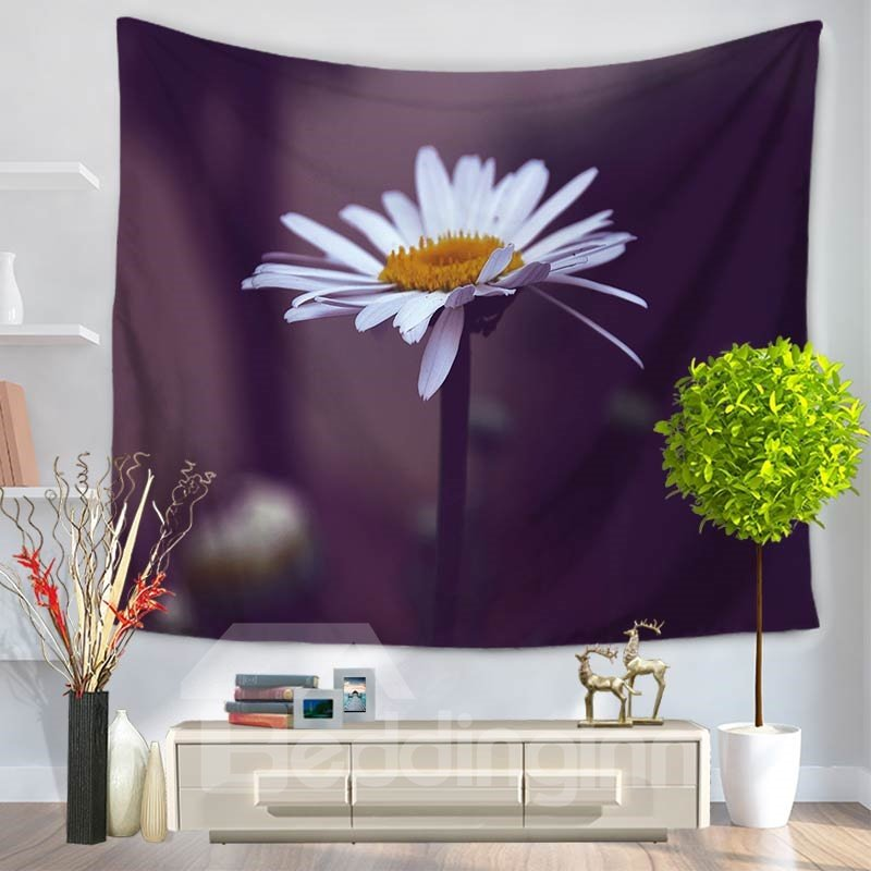White Daisy with Dark Bottom Color Pattern Decorative Hanging Wall Tapestry