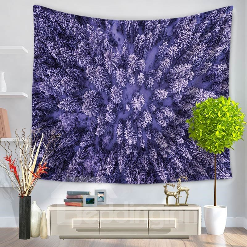 Plenty of Pine Trees with Snow Pattern Decorative Hanging Wall Tapestry