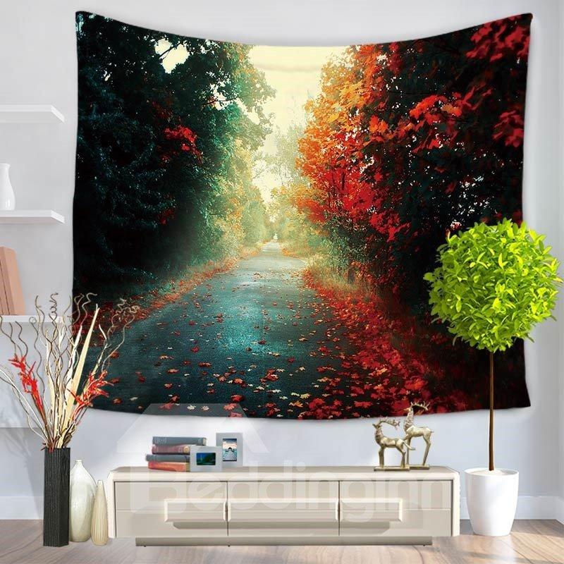 Peaceful Path with Fallen Leaves Pattern Decorative Hanging Wall Tapestry