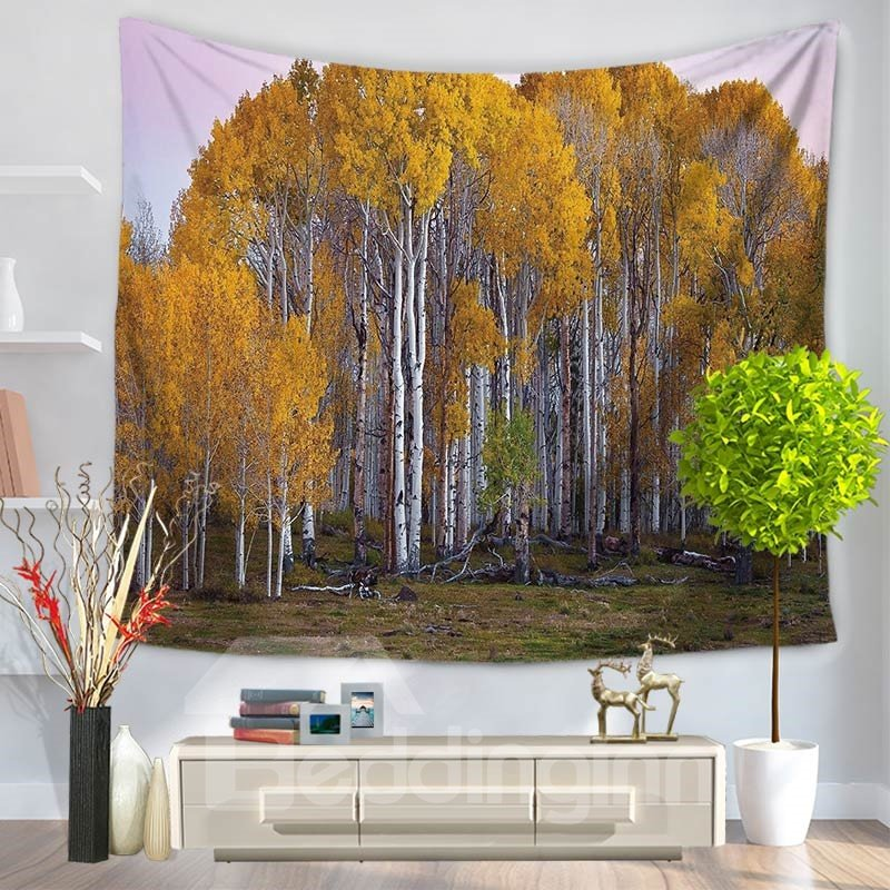 Wood Leaves Nature Trees Autumn Pattern Decorative Hanging Wall Tapestry