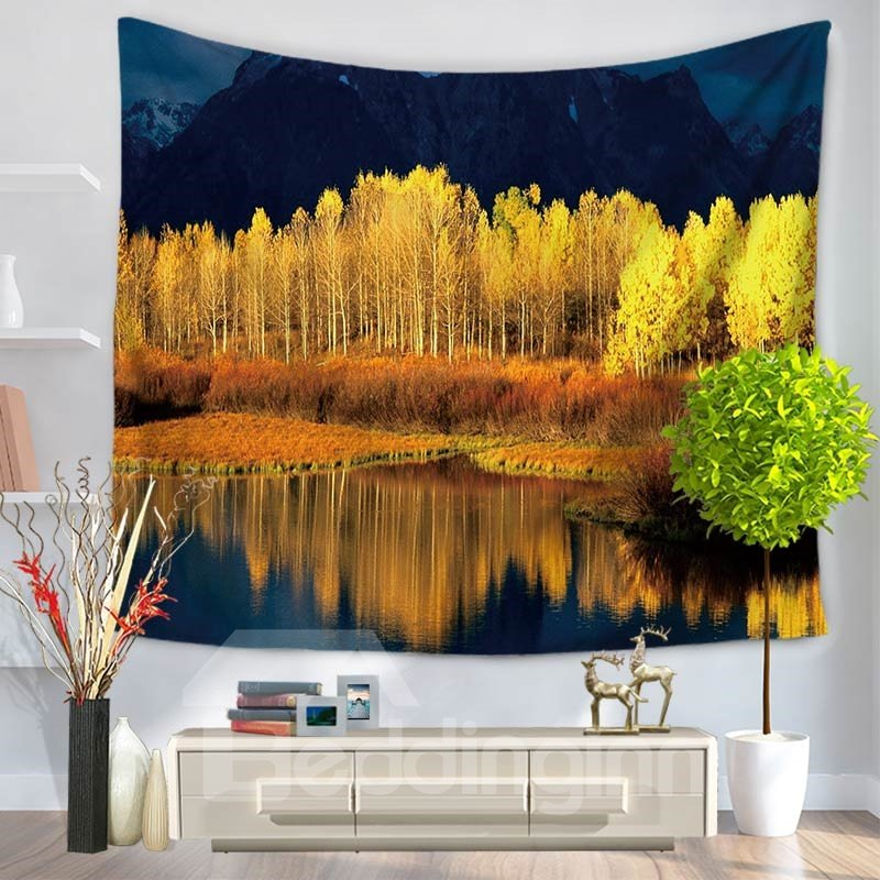 Beautiful Lakescape with Trees Nature Blue Sky Pattern Decorative Hanging Wall Tapestry