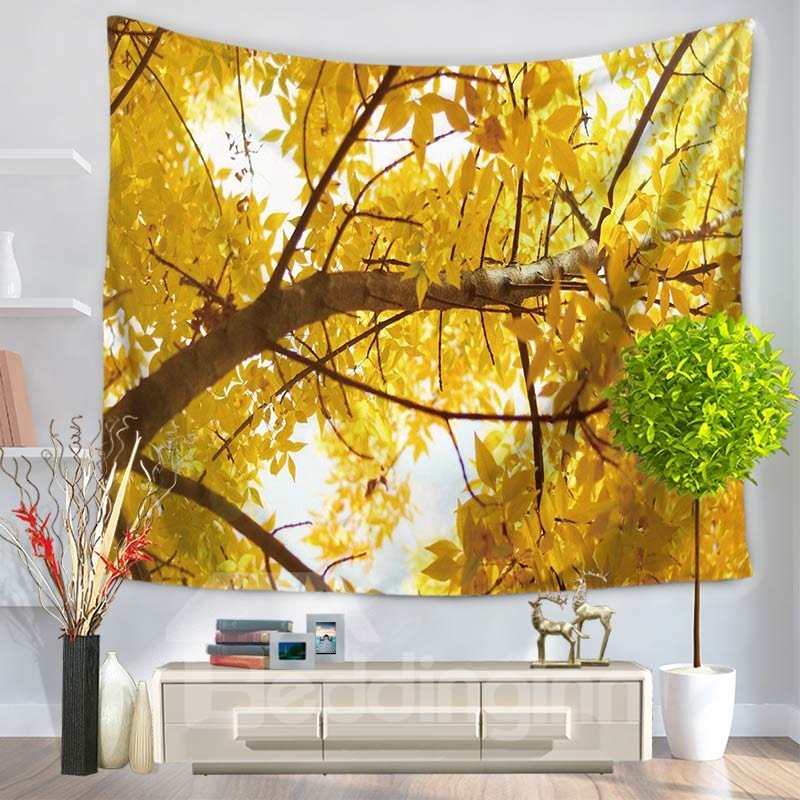 Huge Tree with Yellow Leaves Pattern Decorative Hanging Wall Tapestry