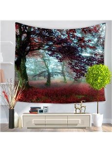 Foggy Morning Smooth Light with Trees Pattern Decorative Hanging Wall Tapestry