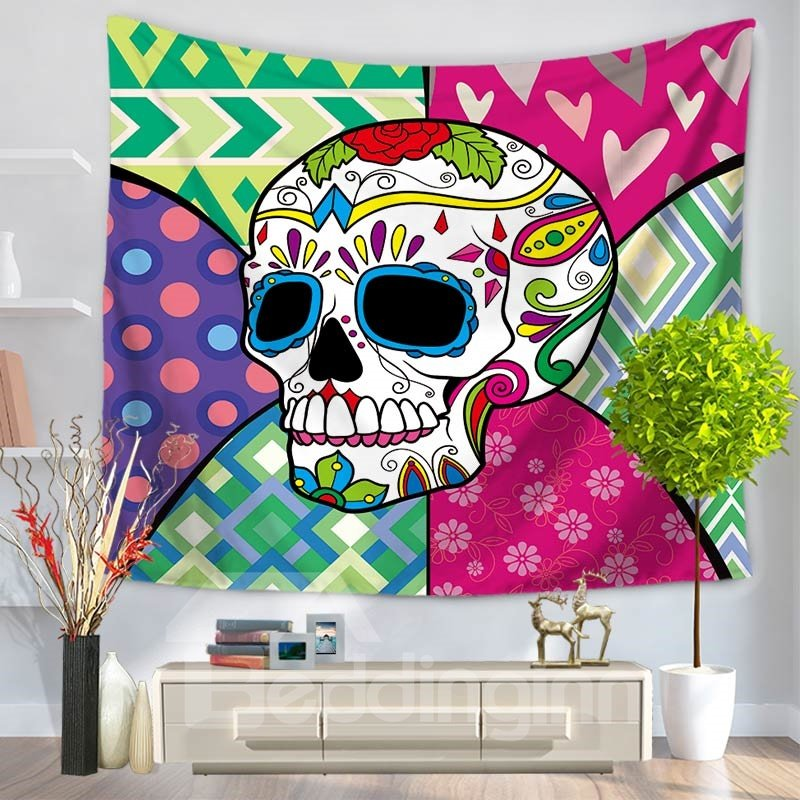 Pink and Green Modern Style Skull Pattern Decorative Hanging Wall Tapestry