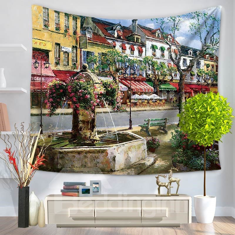 Oil Painting Beautiful Fountain and Street Pattern Decorative Hanging Wall Tapestry