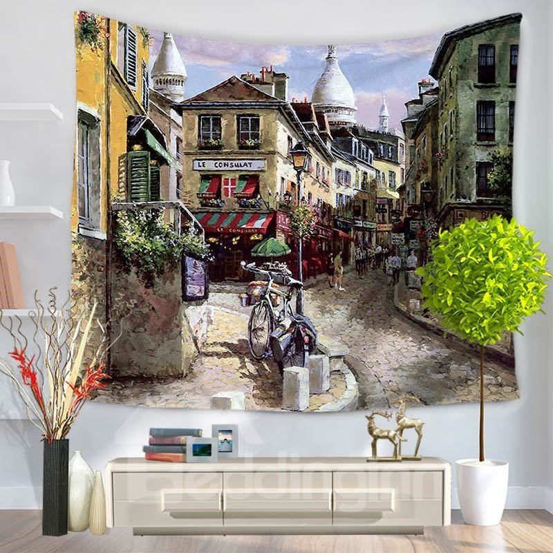 Realism Oil Painting European Streetscape Decorative Hanging Wall Tapestry