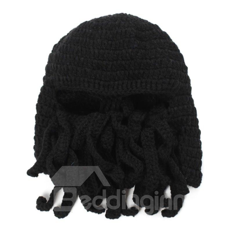 Knit Octopus Beard Hat Winter Beanie Warm Windproof Funny for Men & Women