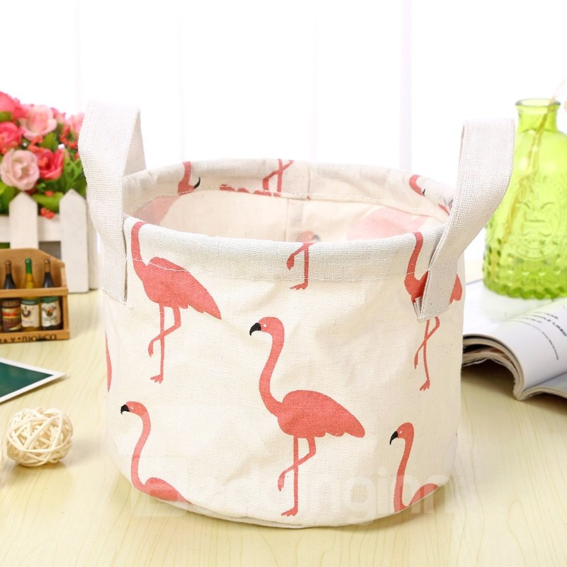 Water-Proof Convenient Thick Polyester Flamingo Simple Style Car Organizer Storage Box