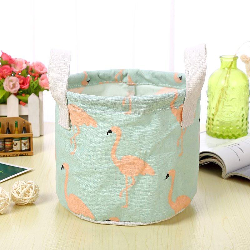 Water-Proof Thick Polyester Cotton Flamingo Modern Style Car Organizer Storage Box