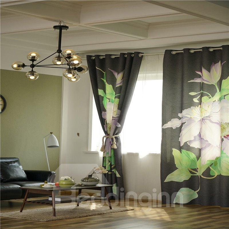 Decorative and Blackout Thick Polyester Beautiful Blooming Flowers Modern Style Grommet Top Curtain