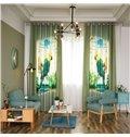 Decorative Blending Digital Printing Symmetrical Parrots Country Style Grommet Top Curtain