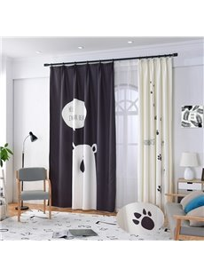 Blackout Polyester Blending Digital Printing Pole Bear and Cute Footprints Modern Style Curtain