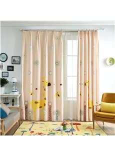 Decorative Polyester Cotton Digital Printing Two Cute Symmetrical Elks 2 Panels Curtain