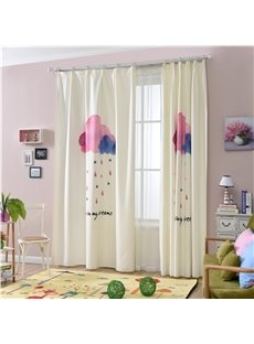 Decorative Polyester Digital Printing Clouds and Raindrops Concise and Modern Style Blackout Curtain