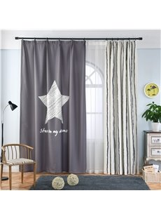 Blackout and Decoration Polyester Digital Printing Star and Vertical Bars Concise Style Curtain