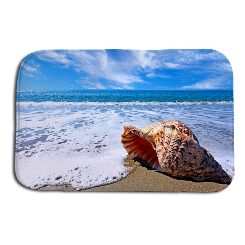 16×24in Conch and Blue Sea Flannel Water Absorption Soft and Nonslip Bath Rug/Mat