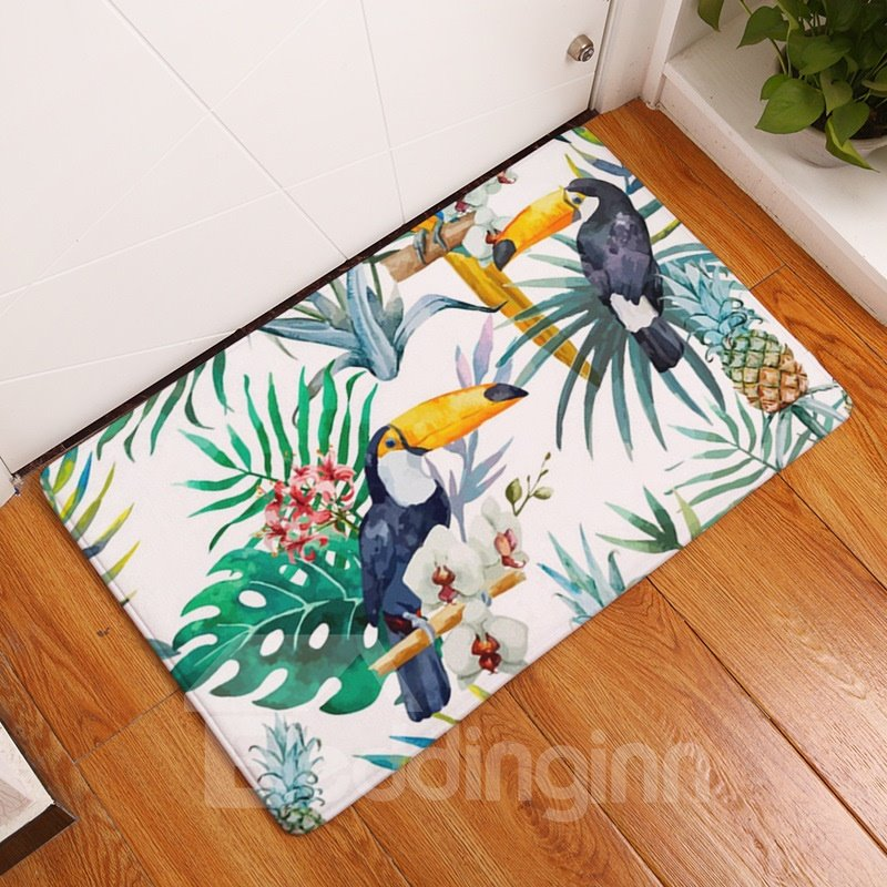 16×24in Parrot on Tropical Plants Flannel Water Absorption Soft and Nonslip Bath Rug/Mat