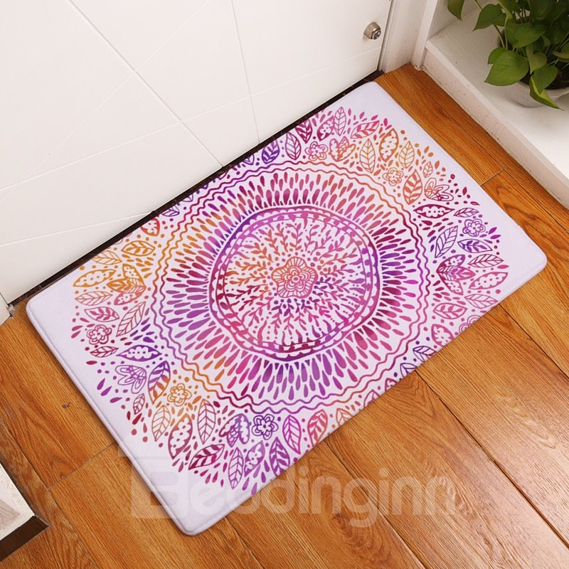 16×24in Flower Bohemian Style Flannel Water Absorption Soft and Nonslip White Bath Rug/Mat