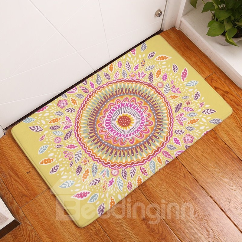 16×24in Flower Bohemian Style Flannel Water Absorption Soft and Nonslip Yellow Bath Rug/Mat