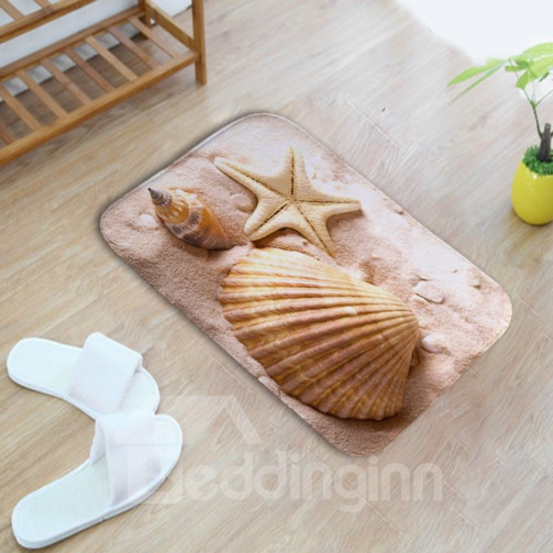 16×24in Conch Shell and Starfish Flannel Water Absorption Soft and Nonslip Bath Rug/Mat