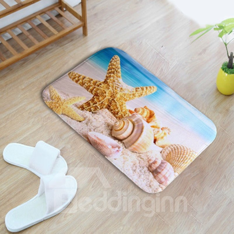 16×24in Starfishes Conches and Shells Flannel Water Absorption Soft and Nonslip Bath Rug/Mat