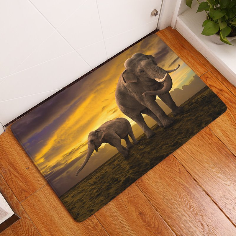 16×24in Elephants in Sunset Flannel Water Absorption Soft and Nonslip Bath Rug/Mat