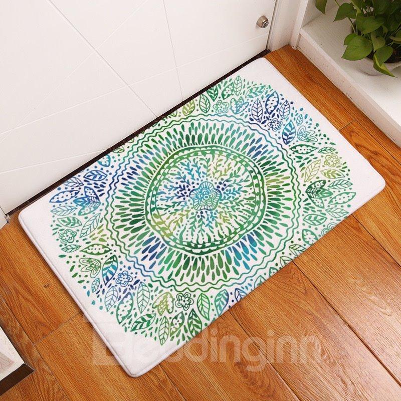 16×24in Green Flower Bohemian Style Flannel Water Absorption Soft Nonslip White Bath Rug/Mat