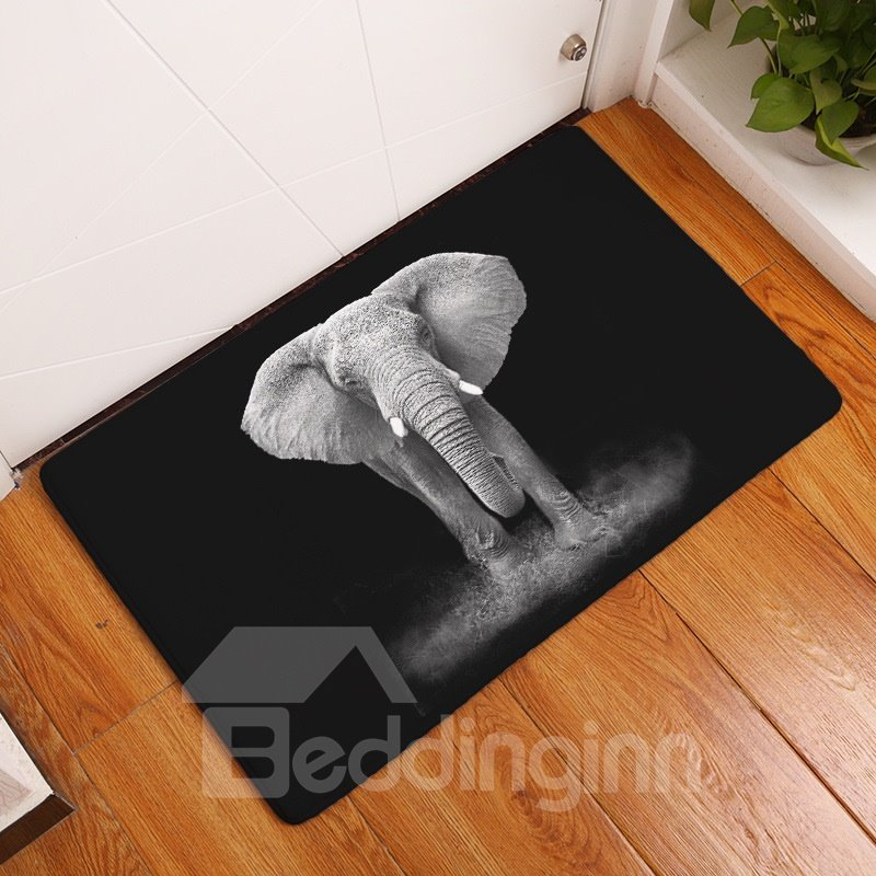 16×24in Grey Flannel Water Absorption Soft and Nonslip Black Bath Rug/Mat