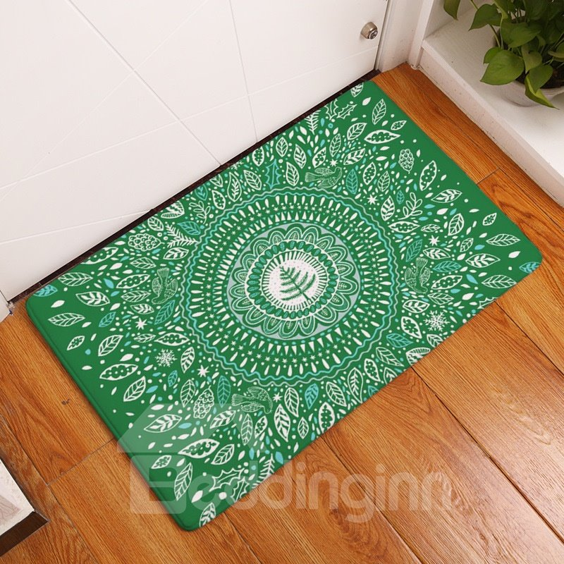 16×24in Green Flannel Bohemian Style Water Absorption Soft and Nonslip Bath Rug/Mat