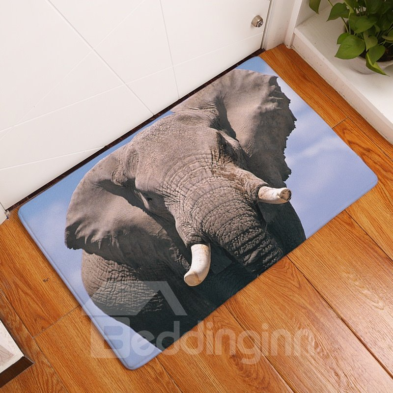16×24in Elephant Flannel Water Absorption Soft and Nonslip Bath Rug/Mat