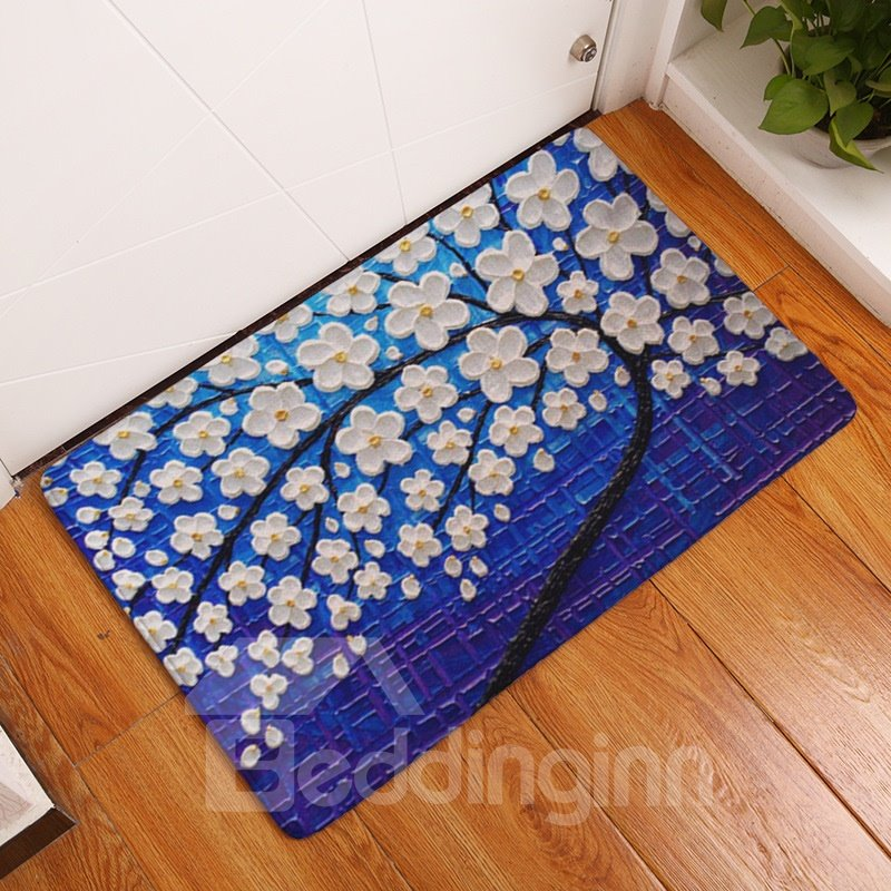 16×24in White Flowers Flannel Water Absorption Soft and Nonslip Blue Bath Rug/Mat