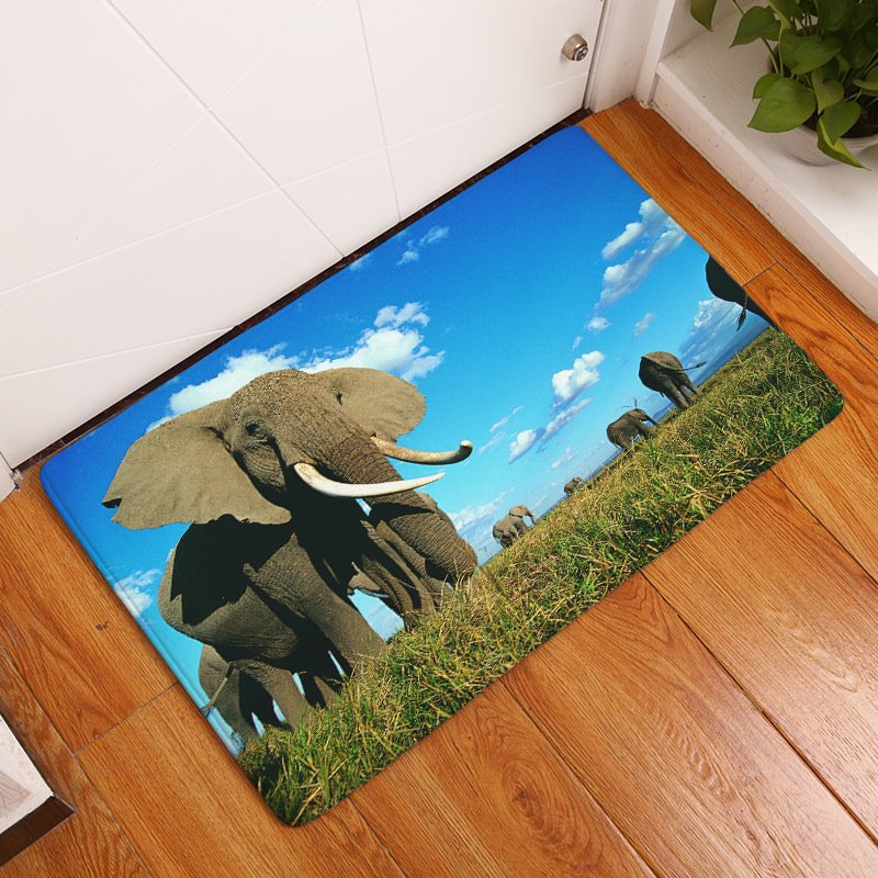16×24in Elephant in Blue Sky Flannel Water Absorption Soft and Nonslip Bath Rug/Mat