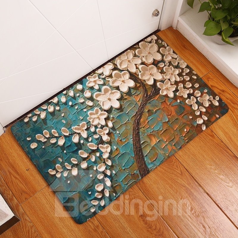 16×24in White Flowers and Brown Branches Flannel Water Absorption Soft Nonslip Bath Rug/Mat