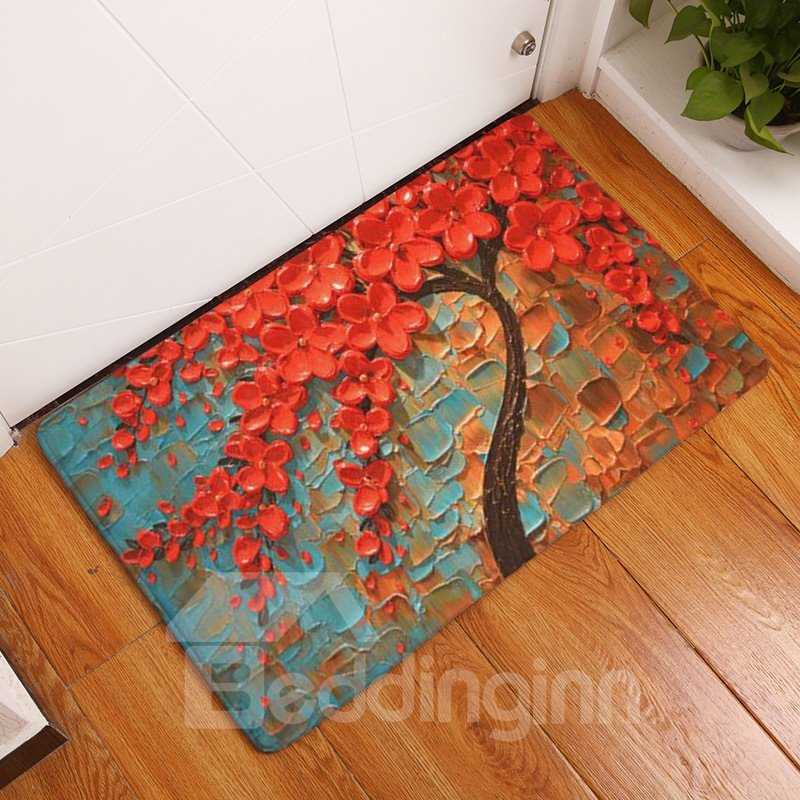 16×24in Red Flowers Oil Painting Flannel Water Absorption Soft and Nonslip Bath Rug/Mat