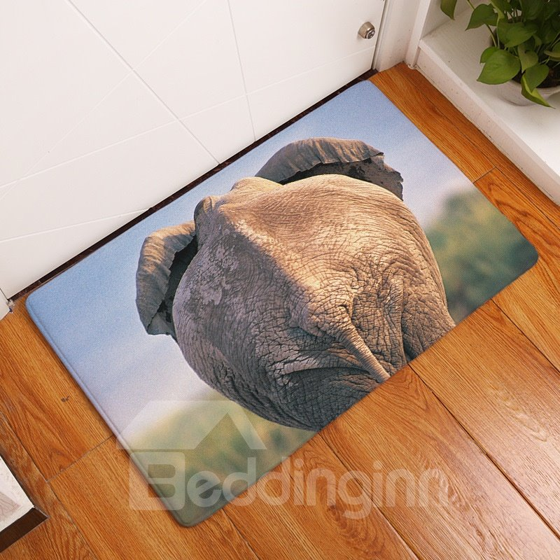 16×24in Elephant Ass Flannel Water Absorption Soft and Nonslip Bath Rug/Mat