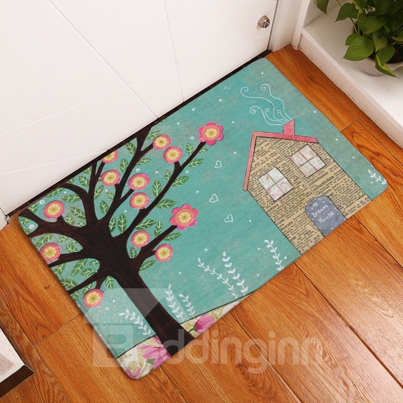 16×24in Flowers on Tree Flannel Water Absorption Soft and Nonslip Blue Bath Rug/Mat