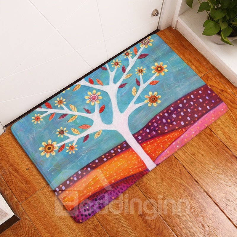 16×24in Colorful Flowers in Desert Flannel Water Absorption Soft and Nonslip Bath Rug/Mat