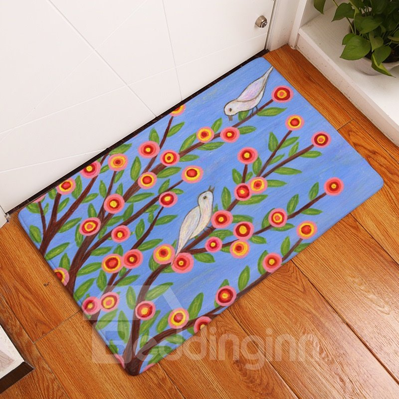 16×24in Bird Flowers and Branches Flannel Water Absorption and Nonslip Blue Bath Rug/Mat