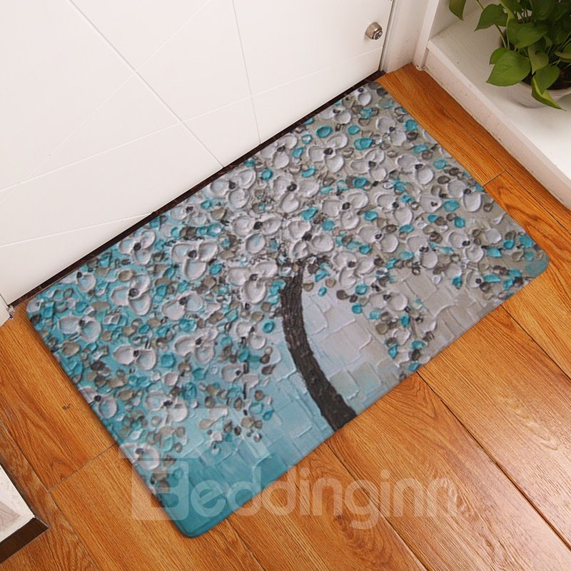 Tree with Grey Flowers and Green Leaves Printed Oil Painting Flannel Bath Rug/Mat