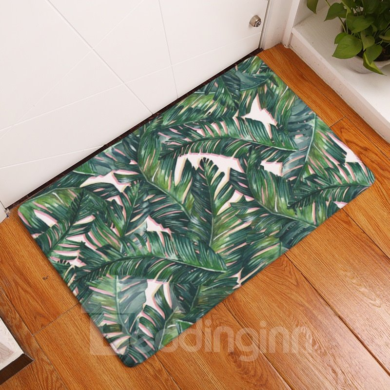 16×24in Green Tropical Plants Flannel Water Absorption and Nonslip Bath Rug/Mat