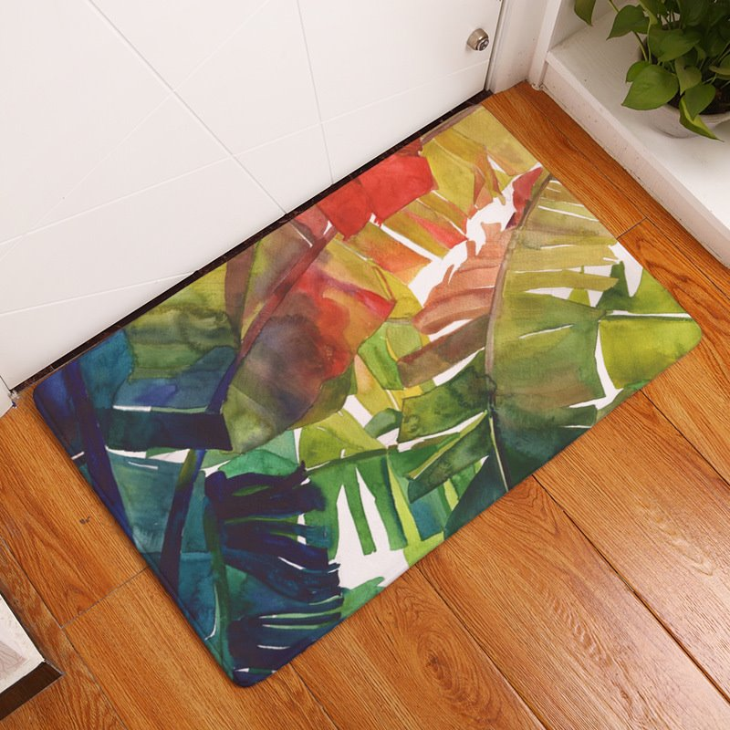 16×24in Green Tropical Plants Flannel Water Absorption Soft and Nonslip Bath Rug/Mat
