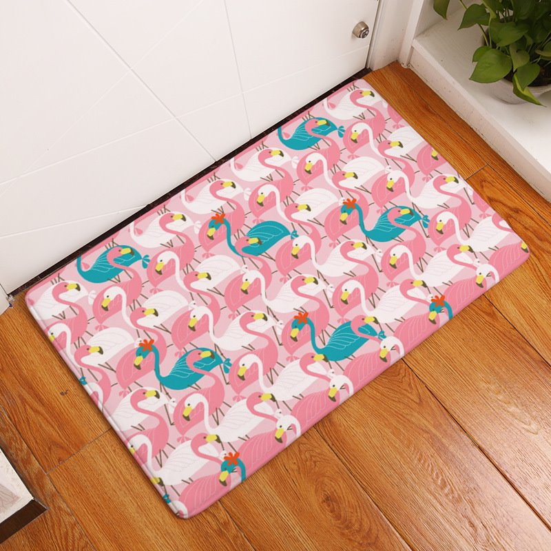 Pink and Blue Flamingos Printed Flannel Bath Rug/Mat