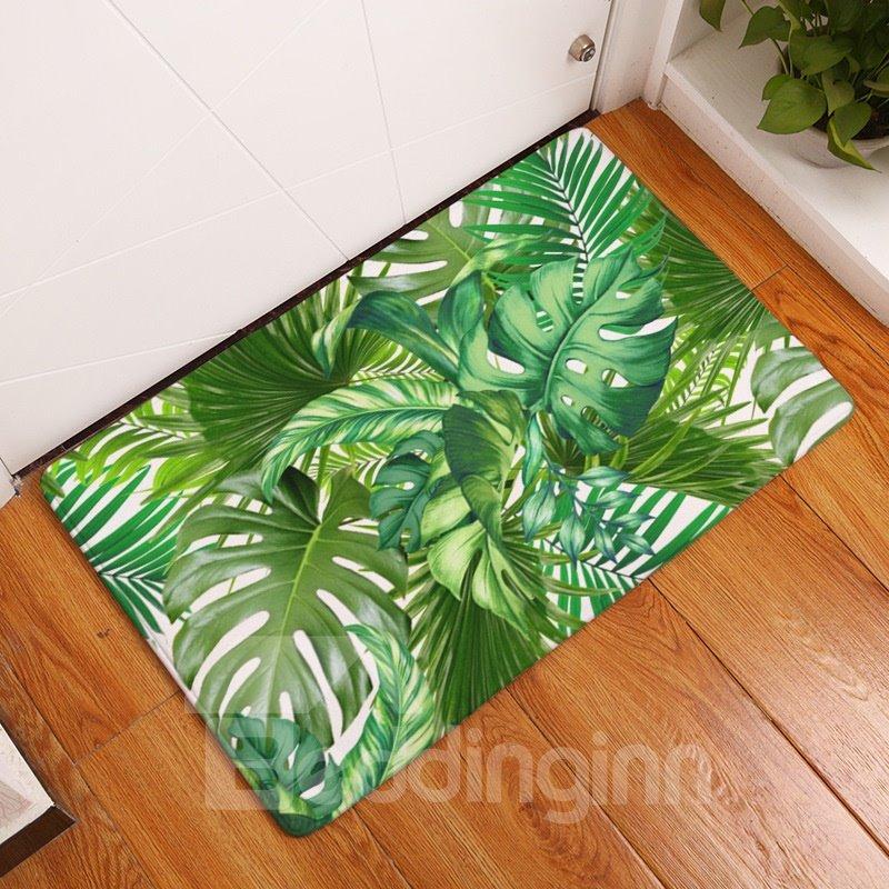Tropical Plants Printed Flannel Green Bath Rug/Mat